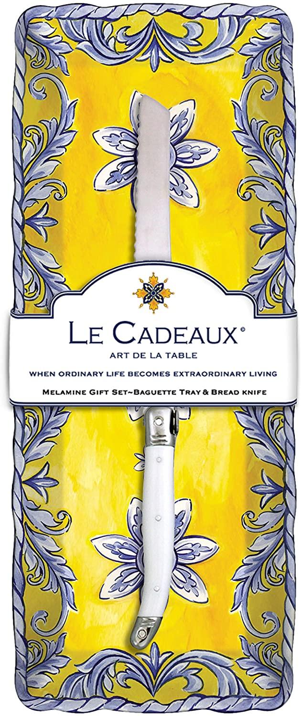 Le Cadeaux Melamine Porto Baguette Tray and Laguiole Bread Knife Gift Set
