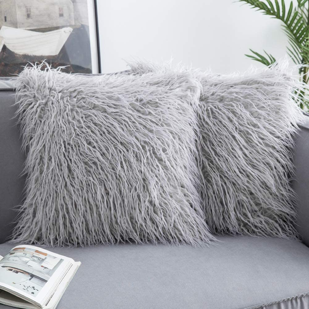 Woaboy Pack of 2 Decorative Faux Fur Throw Pillow Covers Soft Solid Cushion Covers Square Luxury Style Pillowcases for Couch Bed Sofa Living Room 18x18inch 45x45cm Light Gray