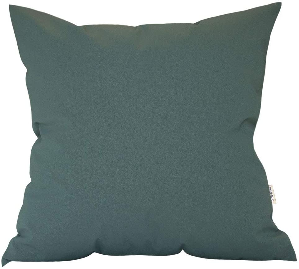 TangDepot Thick Faux Leather Luxury Pillow Cover Cushion Case for Sofa Bed, Indoor/Outdoor Square Cushion Cover - (12x12, Ocean Grey)
