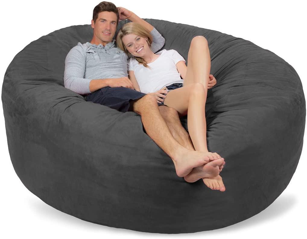 Comfy Sacks 7 ft Memory Foam Bean Bag Chair, Charcoal Micro Suede