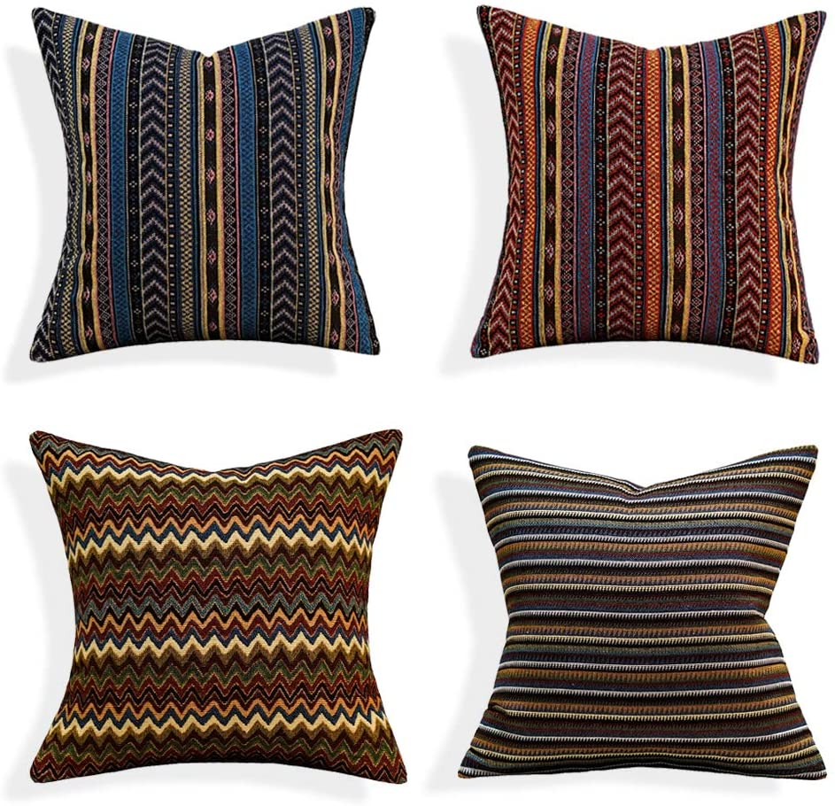 Avigers Pack of 4 18 x 18 Inches Gypsy Tribal Throw Pillow Cover Retro Stripe Cotton Blend Linen Cushion Case, Bohemian Decorative Pillowcase for Sofa Couch Living Room 45 x 45cm