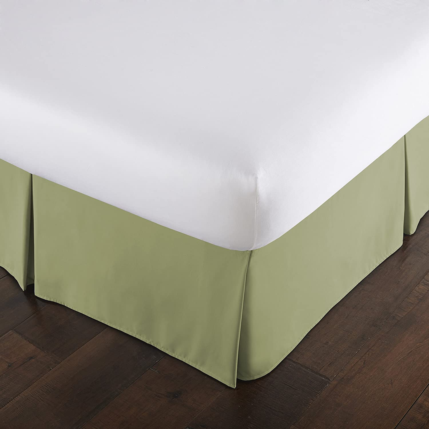 Southshore Fine Linens - VILANO Springs - 15 inch Drop Pleated Bed Skirt, Sage Green, Twin