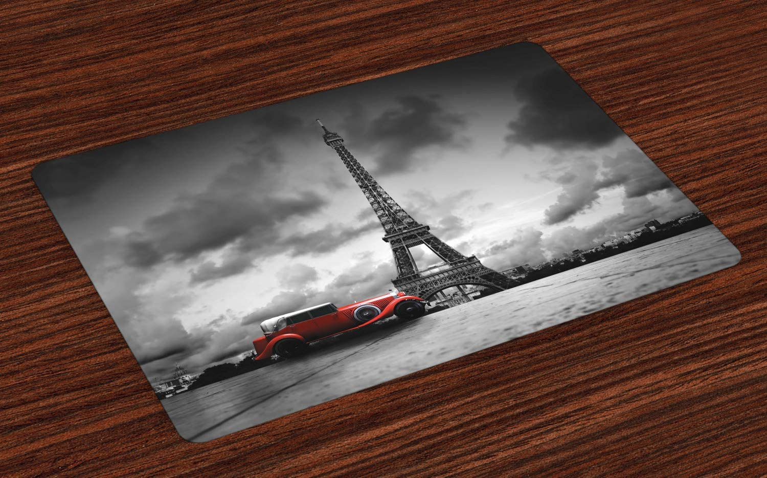Ambesonne Eiffel Tower Place Mats Set of 4, Image of Eiffel Tower Paris France Vintage Car Street Dark Clouds, Washable Fabric Placemats for Dining Room Kitchen Table Decor, Black White Red