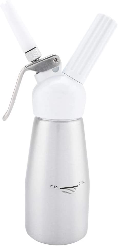 Cream Dispenser, 250mL Portable Aluminum Whipped Dessert Cream Butter Dispenser Whipper Foam Maker(Silver)