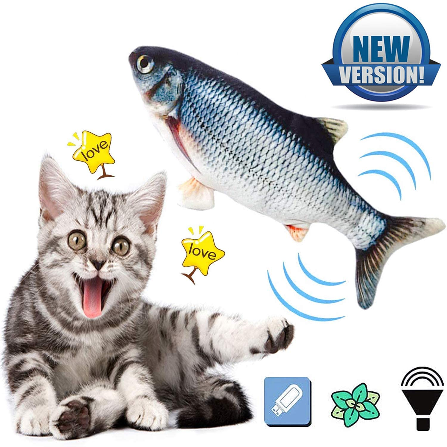 Ddzmz Cat Toys for Indoor Cats Interactive, Cat Kicker Fish Realistic Plush Simulation Electric Wagging Fish Refillable Catnip Cat Toys Interactive Pets Pillow Chew Bite Kick for Cat Kitten Kitty 11
