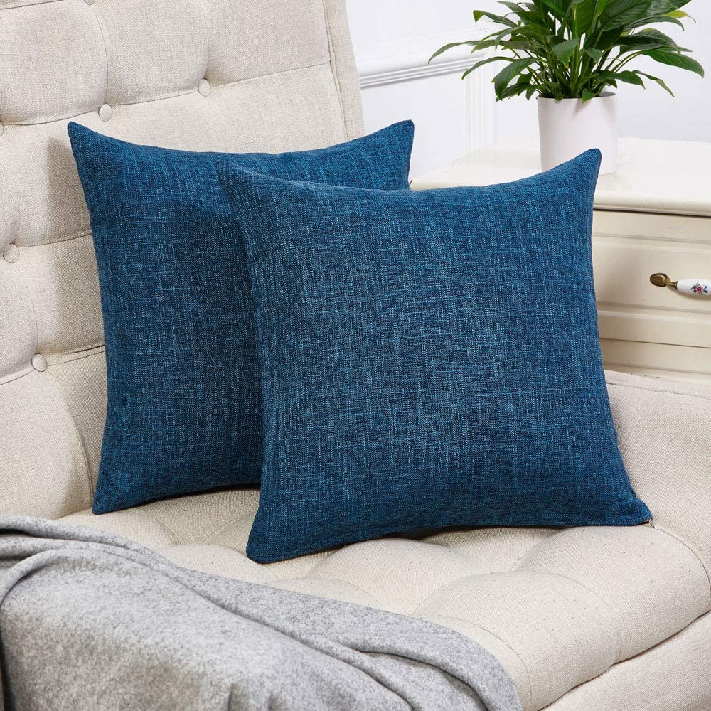 Anickal Set of 2 Dark Blue Pillow Covers Cotton Linen Decorative Square Throw Pillow Covers 16x16 Inch for Sofa Couch Decoration