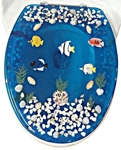 Transparent Fish Aquarium Elongated Oval Toilet Seat with Cover Acrylic Seats.(Blue