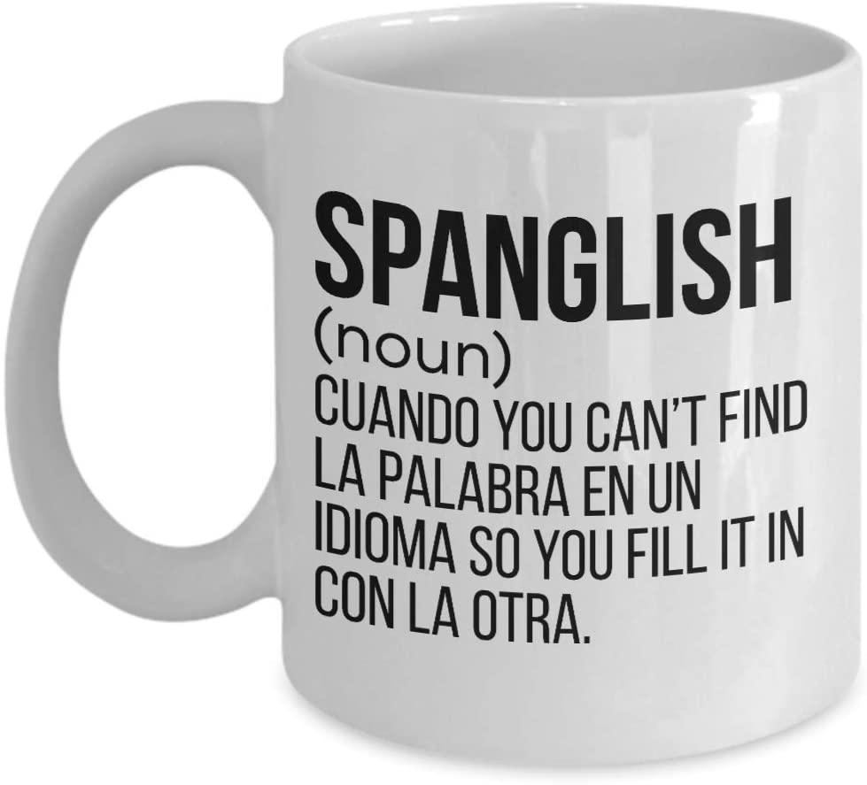 Spanglish Mug, Mexican Coffee Mugs, Spanish Ceramic Travel Mug, Puerto Rico