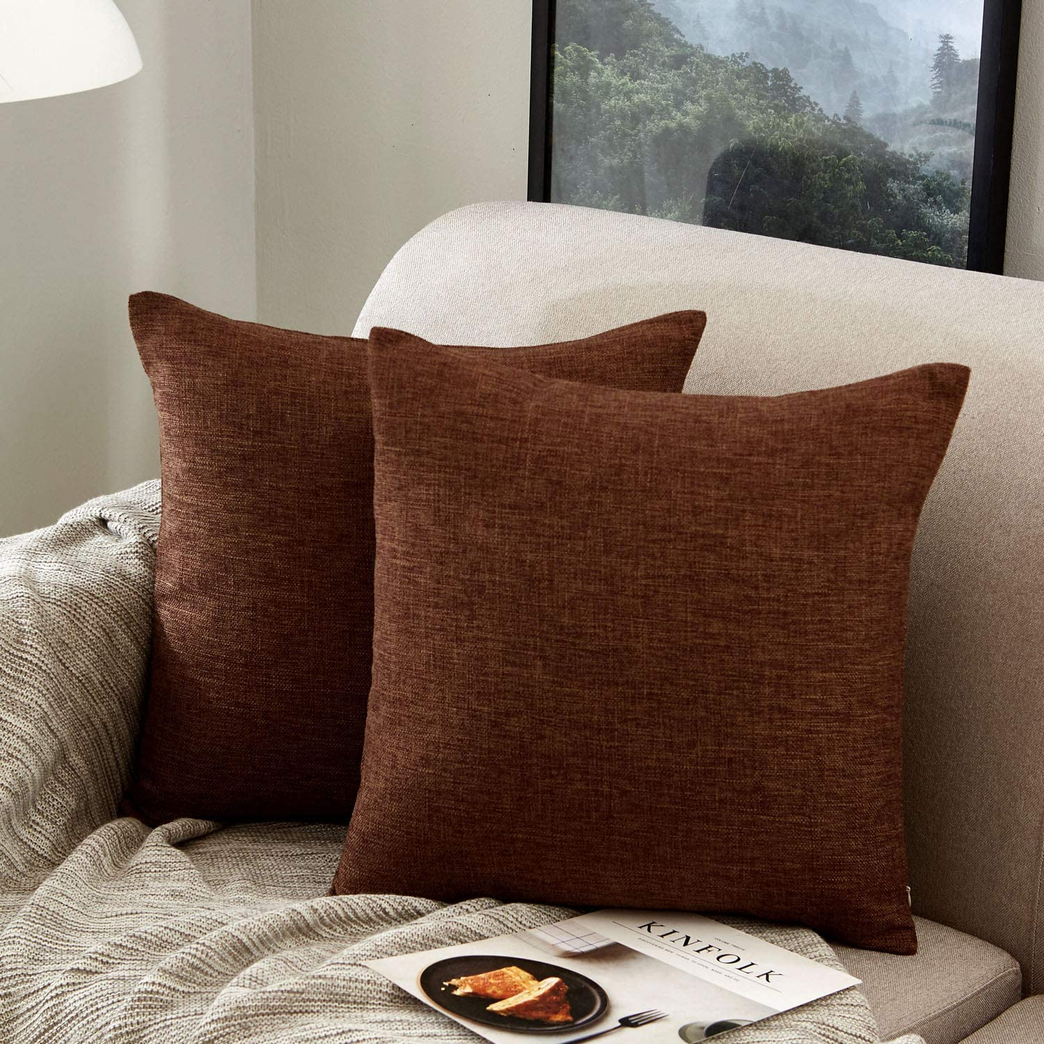 MERNETTE Pack of 2, Cotton Linen Blend Decorative Square Throw Pillow Cover Cushion Covers Pillowcase, Home Decor Decorations for Sofa Couch Bed Chair 18x18 Inch/45x45 cm (Dark Brown)