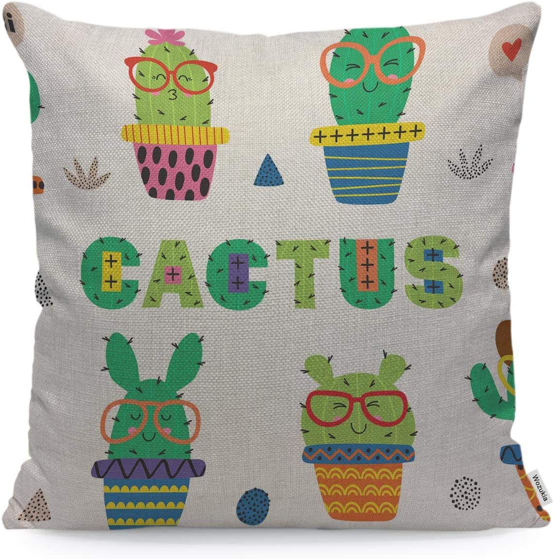 Wozukia Funny Cactus Throw Pillow Covers in Glasses Geometric Shapes Decoration Cute Colorful Decorative Pillow Cases Home Decor Square 16x16 Inches Pillowcases