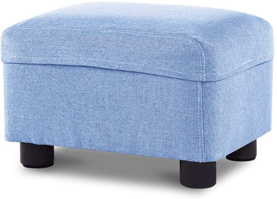 ZENGAI Pouf Ottoman Household Cotton and Linen Footstool Sofa Square Stool Living Room Small Bench, Removable, Washable (Color : Blue, Size : 37x27x24cm)