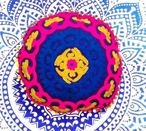 Traditional Jaipur Mandala Throw, Suzani Cushion Cover 16, Pom Pom Pillow Shams, Embroidered Floor Cushions, Indian Round Pouf Ottoman, Decorative Pillow Cases