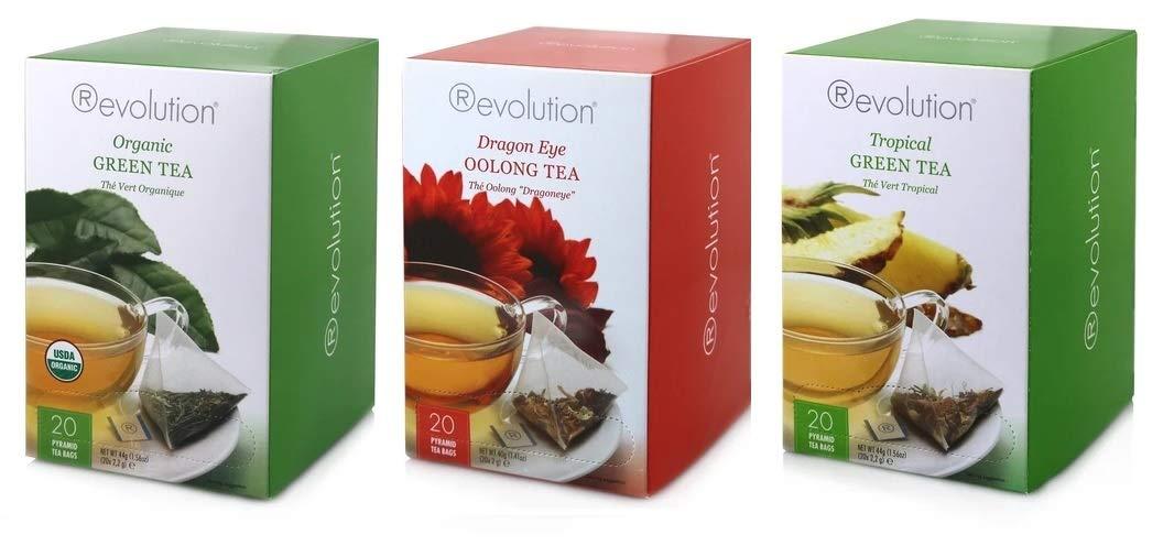 Revolution Tea, Green Tea & Oolong Variety, Organic Green Tea, Tropical Green Tea, and Dragon Eye Oolong Tea, 20 Ct boxes, 1 Box of Each Kind (60 Bags Total) - Includes Spice of Life Honey Dipper