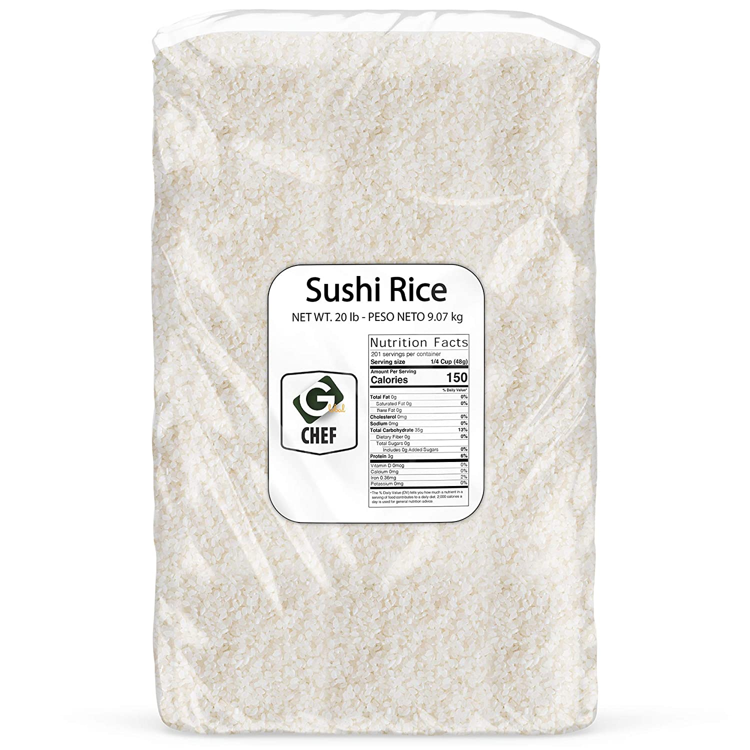 Global Chef - Sushi Short Rice - 20 LBS Bulk Bag