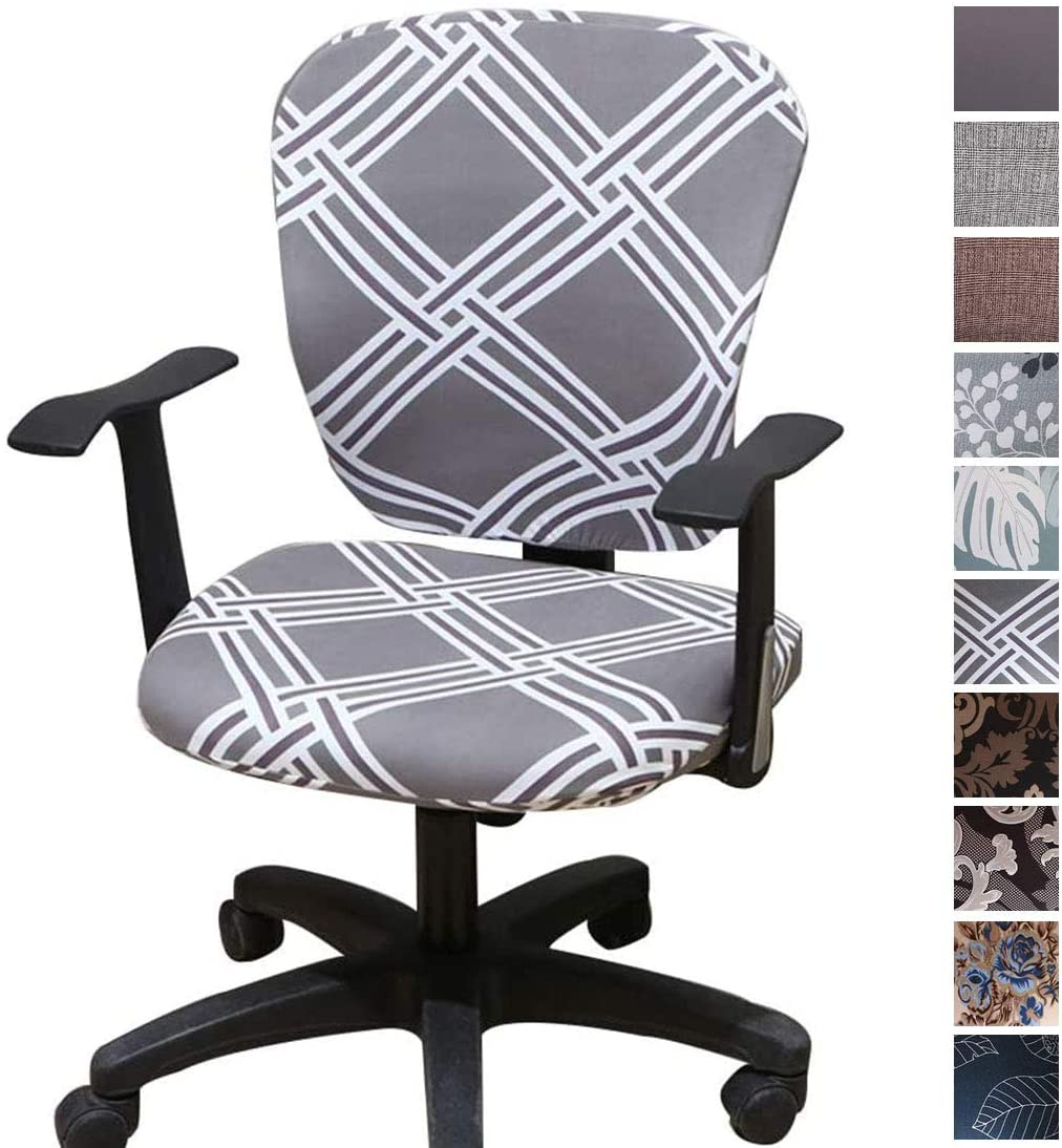 Comqualife Stretch Printed Computer Office Chair Covers Washable Anti-Dust Universal Spandex Chair Back Cover Seat Cover Rotating Chair Slipcovers, Grey Geometric