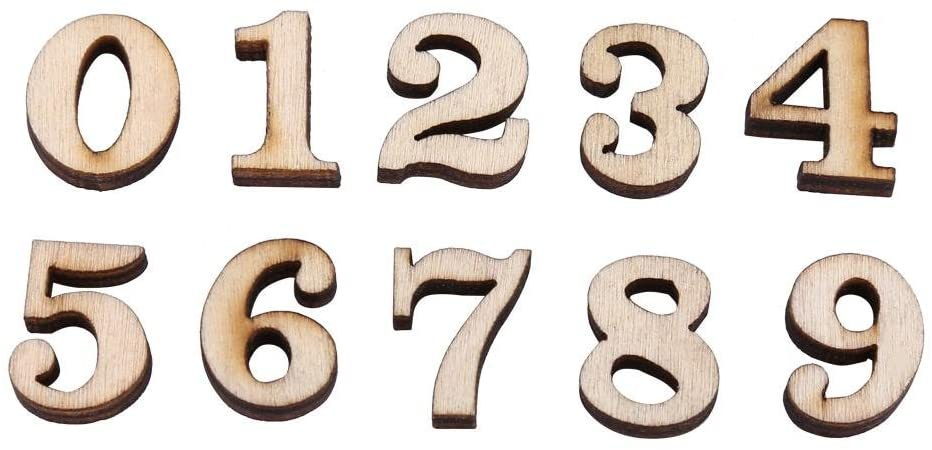 200Pcs Mixed Wooden 0-9 Numbers for DIY Craft Home Decor Kids Early Educational Learning Toys Games(Numbers)