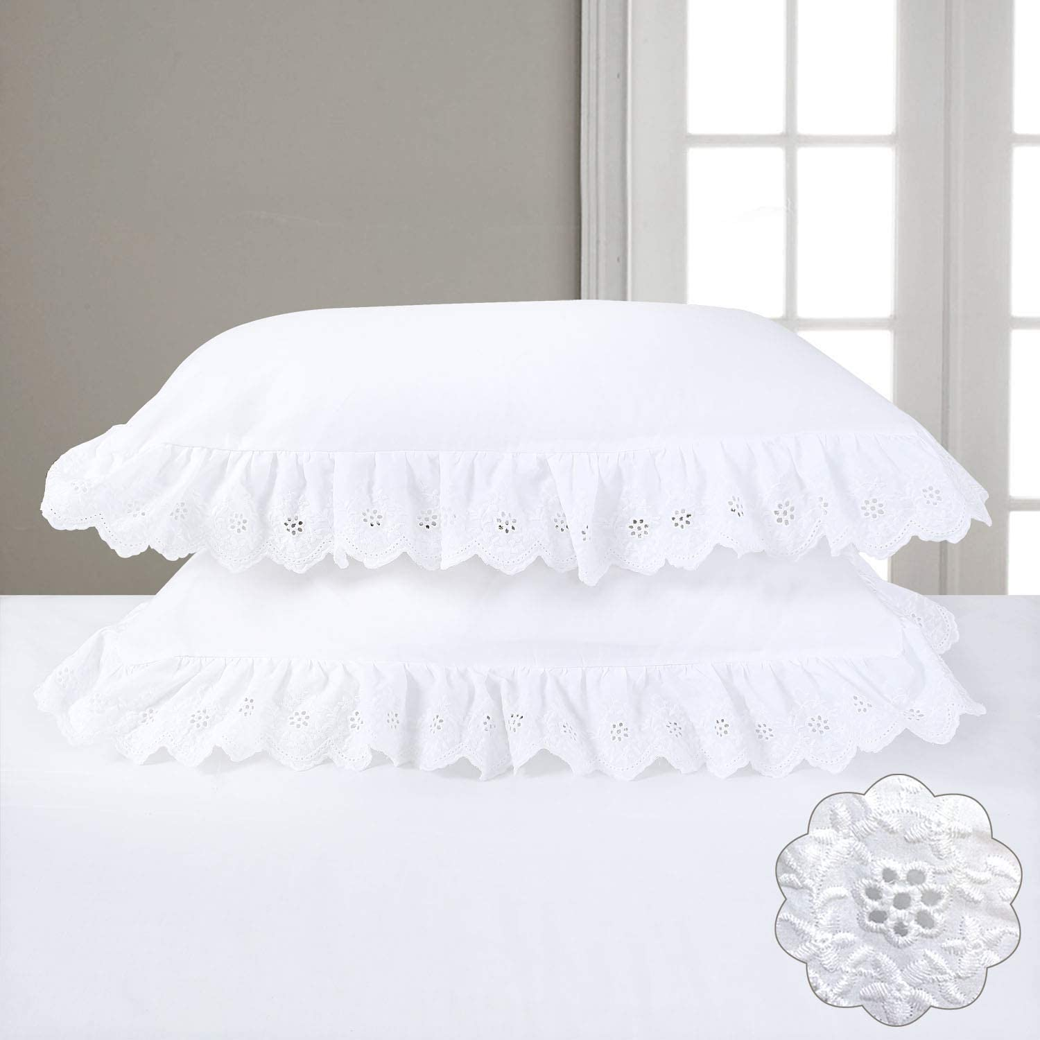 YINFUNG Eyelet Pillow Shams White Ruffled King Shabby Chic Set of 2 Lace Pillowcases Scalloped Farmhouse Country Elegant Pretty Girls Cute Ruffle Embroidered 2 Pieces 20×36 Vintage Cotton 100%