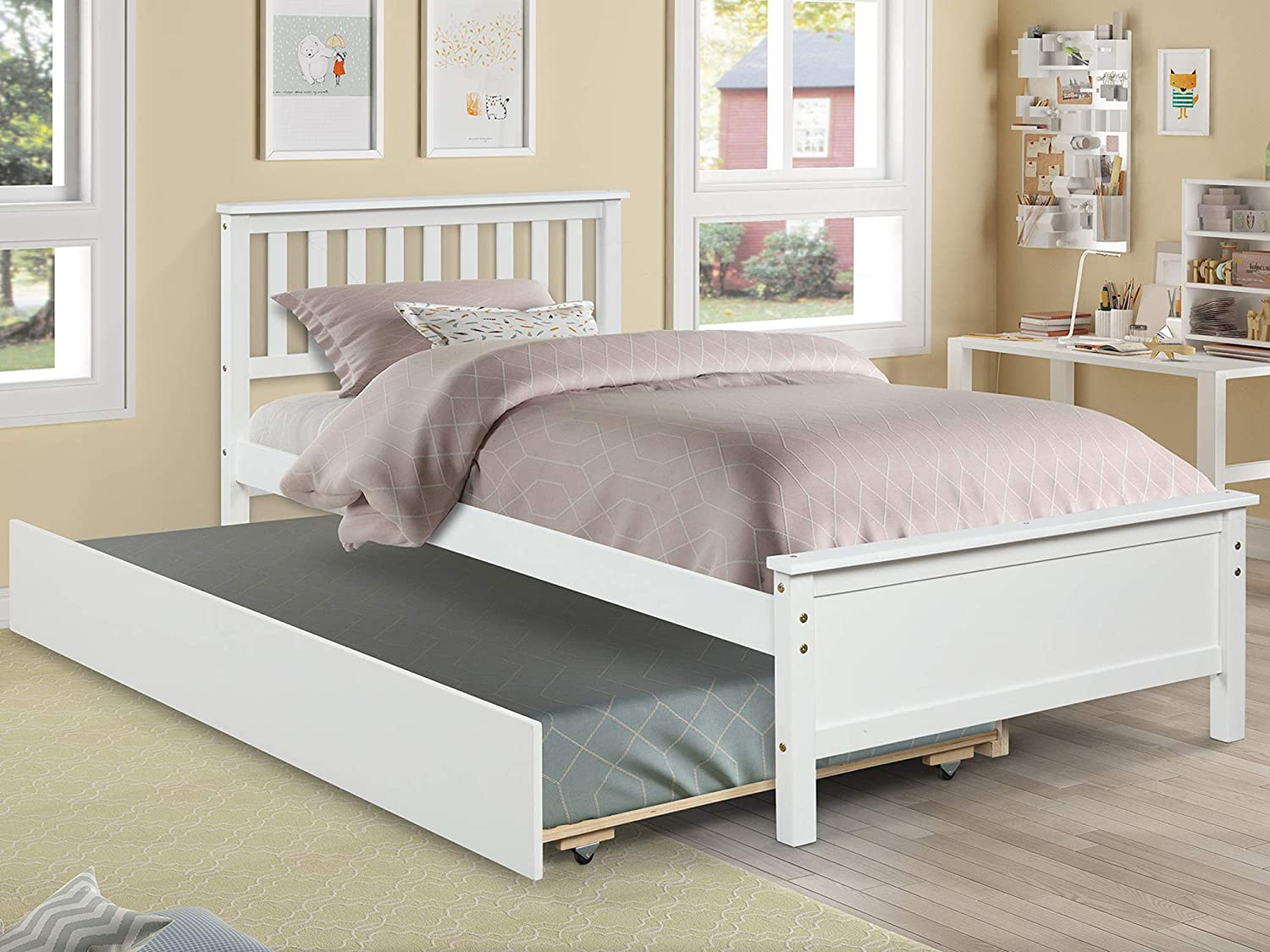 Twin Bed with Trundle Platform Bed Frame Pull-Out Trundle for Kids Teens Adults Sleepovers, Captains Bed for Bedroom Guest Rooms Small Living Space, Wood Slat Support No Box Spring Needed