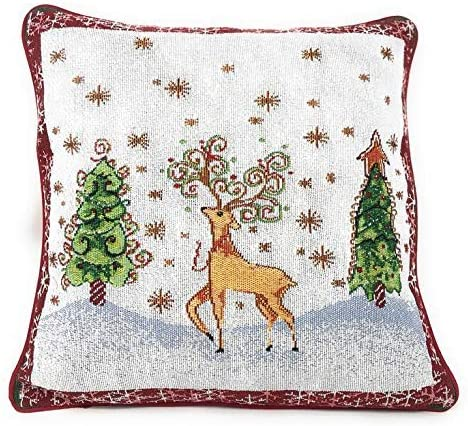 Tache Winter Forest Reindeer Antique Vintage Christmas Eve Snowflakes Holiday Season White Red Decorative Woven Tapestry Cushion Throw Pillow Cover, 16 x 16, 1 Piece