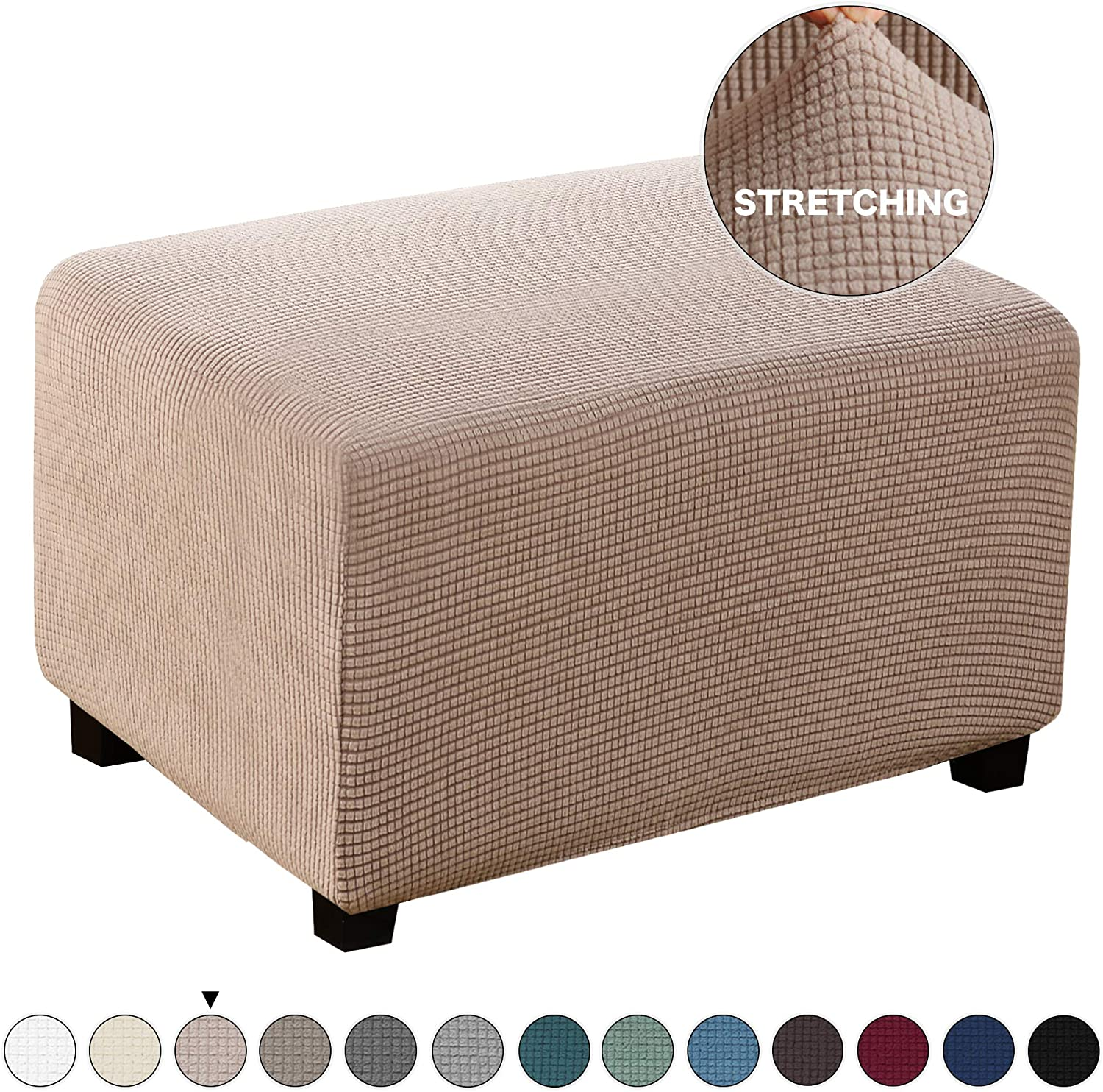 Turquoize Jacquard Ottoman Cover Oversize Easy Fitted Storage Stool Ottoman Covers Slipcovers, High Elasticity Furniture Protector for Living Room Footrest Furniture Protector (X-Large, Khaki)