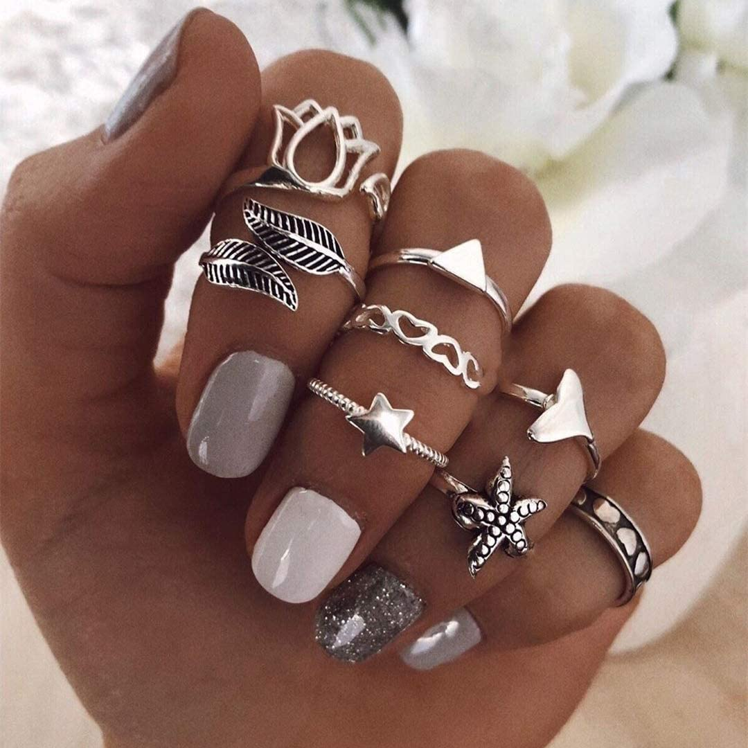 Knuckle Stacking Rings Midi Rings for Women Teen Girls Bohemian Joint Knuckle Nail Statement Rings Set