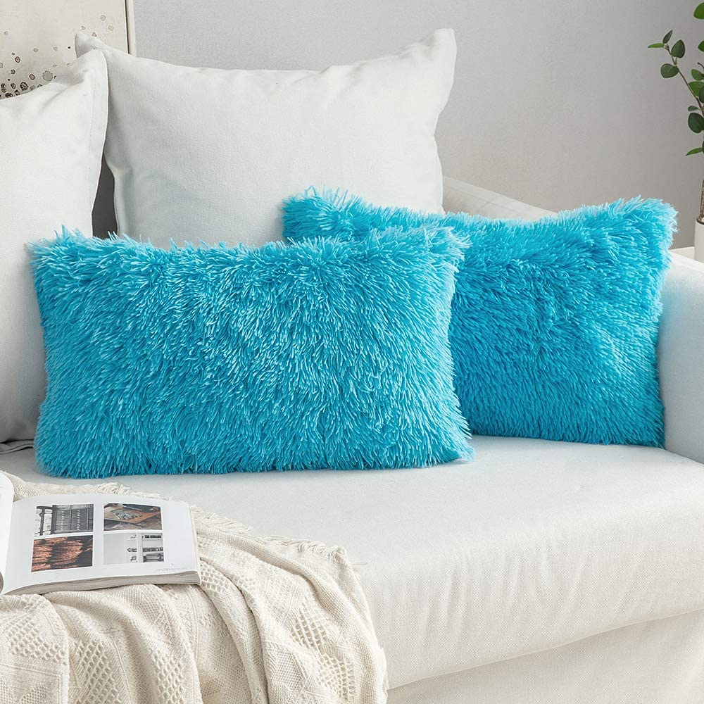 MIULEE Pack of 2 Luxury Faux Fur Throw Pillow Cover Deluxe Decorative Plush Pillow Case Cushion Cover Shell for Sofa Bedroom Car 12 x 20 Inch Little Blue