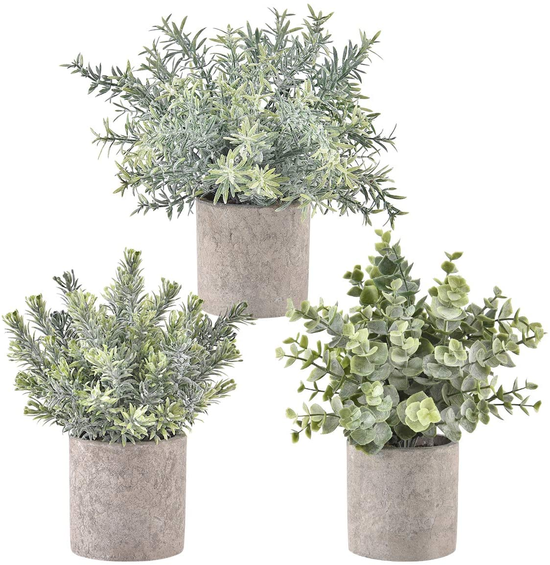 Shiny Flower Set of 3 Artificial Potted Plants Fake Potted Eucalyptus Rosemary Plastic Decoration for Table Centerpiece Office Kitchen Shower Room