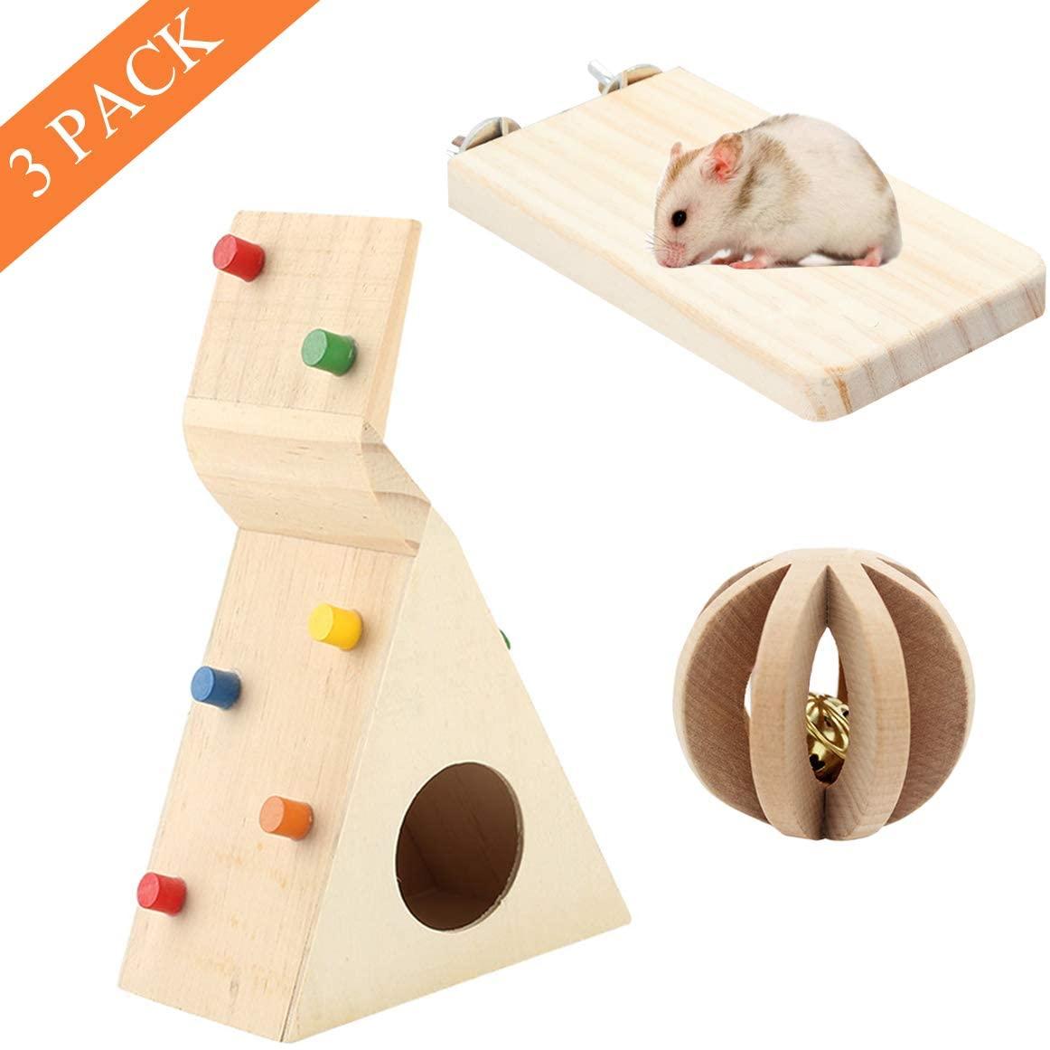 3 Pack Hamster Climbing Toy Wooden Swing Ladder and Resting Platform for Dwarf Hamster