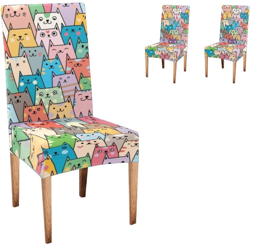 XIUCOO Custom Stretch Chair Covers Protector Colorful Kitty Comfort Soft Seat Covers Slipcovers for Dining Room Party(Set of 2)
