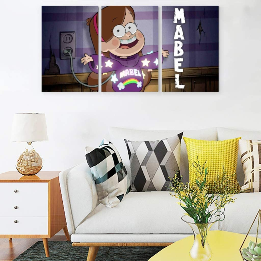 hfrhkudl Wall Art Gravity-Falls Abstract Mural Landscape Canvas Art Painting Artworks for Room Living Room Dining Room Home Decor Frameless Pack of 3 White 12x16