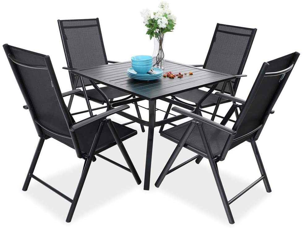 PHI VILLA 5 pcs Patio Dining Set, 4 Outdoor Reclining Folding Sling Chair with Armrest & 1 Square Patio Dining Table with 1.57
