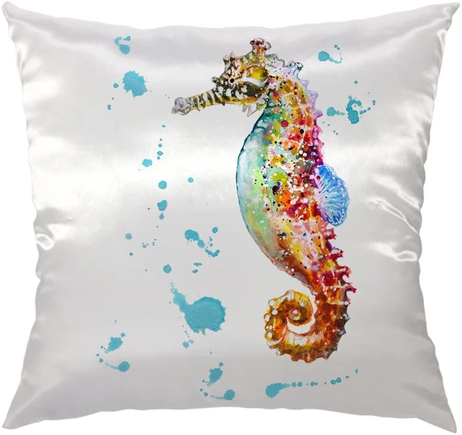 Moslion Sea Horse Pillow Home Decorative Throw Pillow Cover Case Colorful Sea Horse Satin Square Cushion Cover Standard Pillow Cases for Men Women Boys Girls Sofa Bedroom Livingroom 18