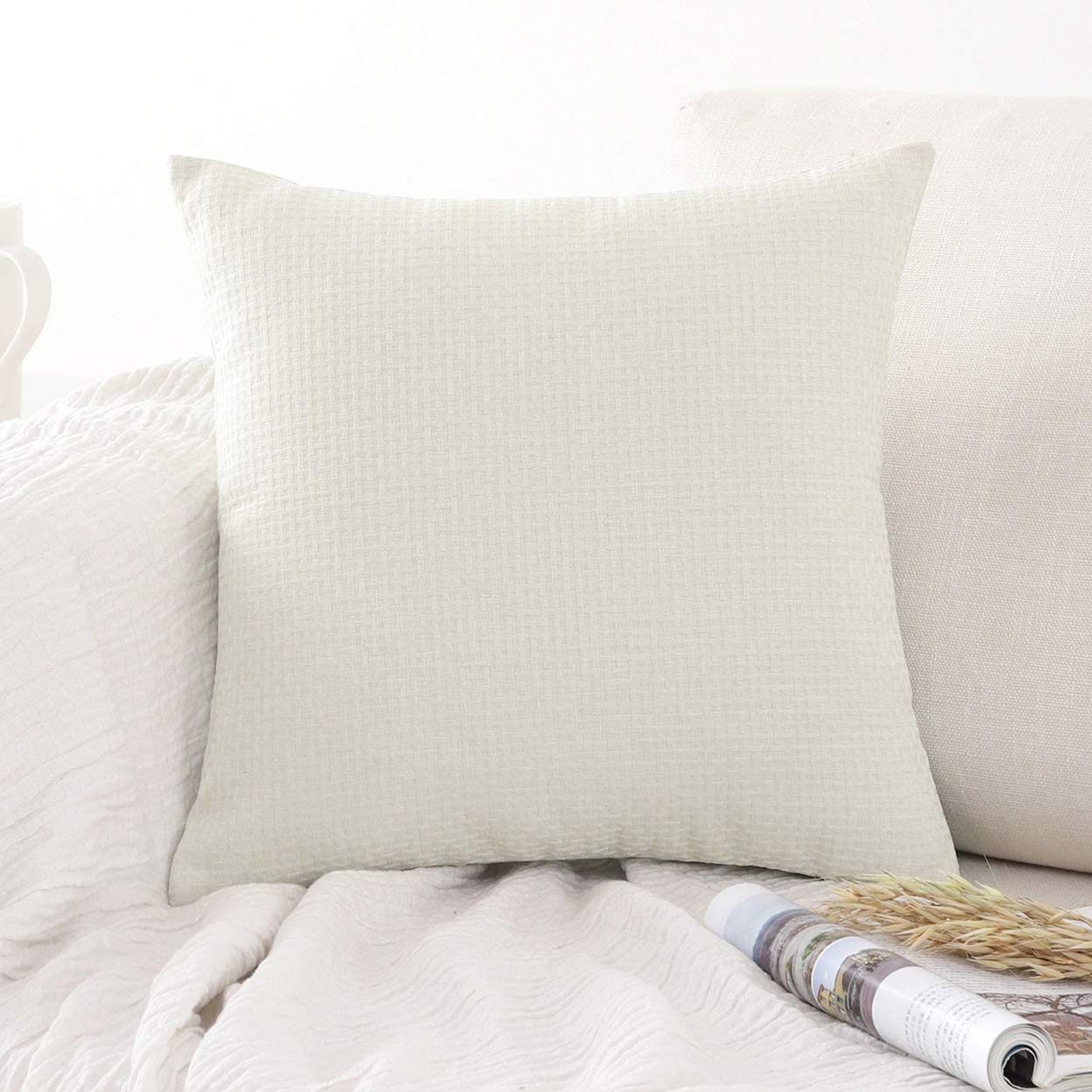 Jepeak Comfy Cotton Linen Throw Pillow Cover Rattan Weaved Pattern Cushion Case, Solid Thickened Farmhouse Modern Decorative Square Pillow Case for Sofa Couch Bed (Cream, 24 x 24 Inches)