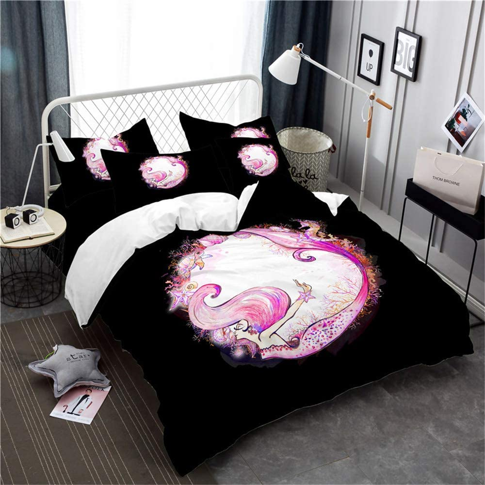 Earendel Mermaid Duvet Cover Set Pink Cartoon Painting Bedding Multiple Colour Bed Sets 2/3/4PCS Quilt Covers/Sheets/Pillowcases,Twin/Full/Queen/King Size (Twin-172x218cm-4PCS,4)