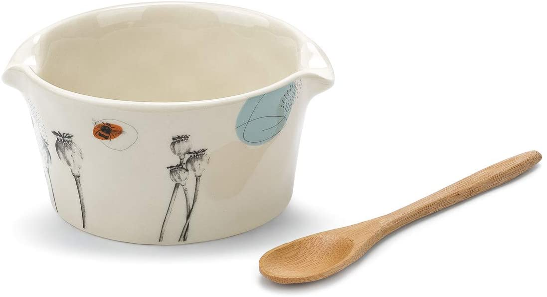 Nibbles Floral White 5 x 3 Ceramic Stoneware Appetizer Bowl With Spoon