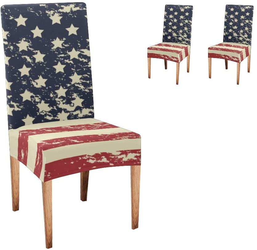 CUXWEOT Chair Covers for Dining Room American Flag Seat Covers Slipcovers (Set of 2)
