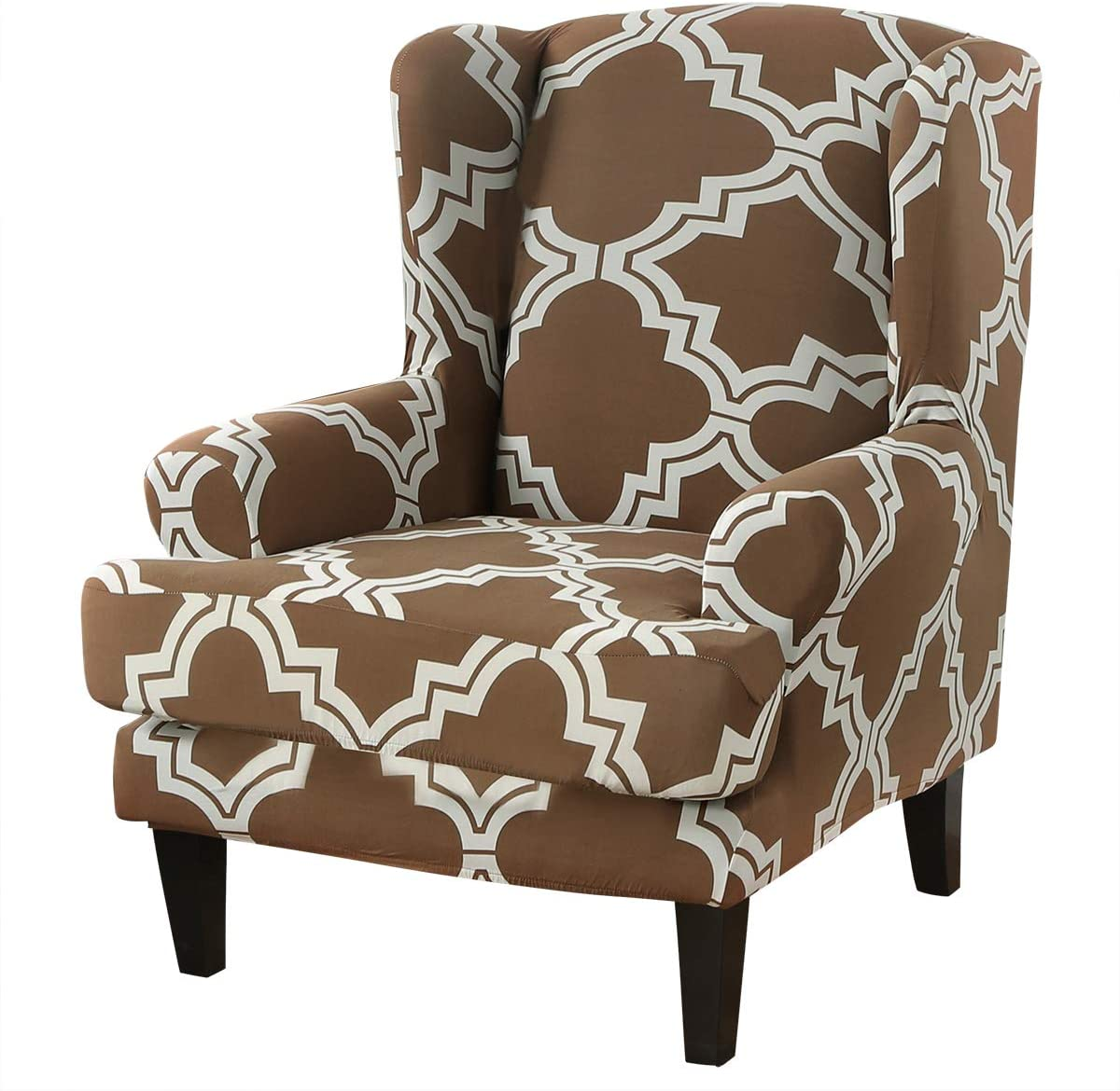 ele ELEOPTION Stretch Printed Wingback Sofa Chair Cover, Modern Pattern 2-Piece Sofa Cover, Armchair Slipcover Furniture Protector Couch Super Soft Slipcover Machine Washable (Pattern-10)