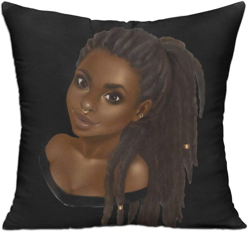 Antvinoler Velvet Throw Pillow Cases,American Black Women Girl,Pillow Covers Decorative 18X18 in Pillowcase Cushion Covers with Zipper
