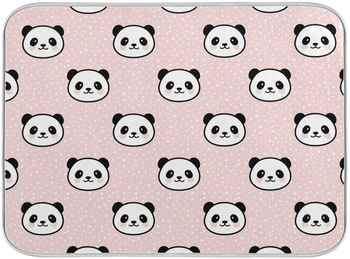 Dish Drying Mat Large Absorbent for Kitchen Counter, Drying Mats for Dishes Panda Pink