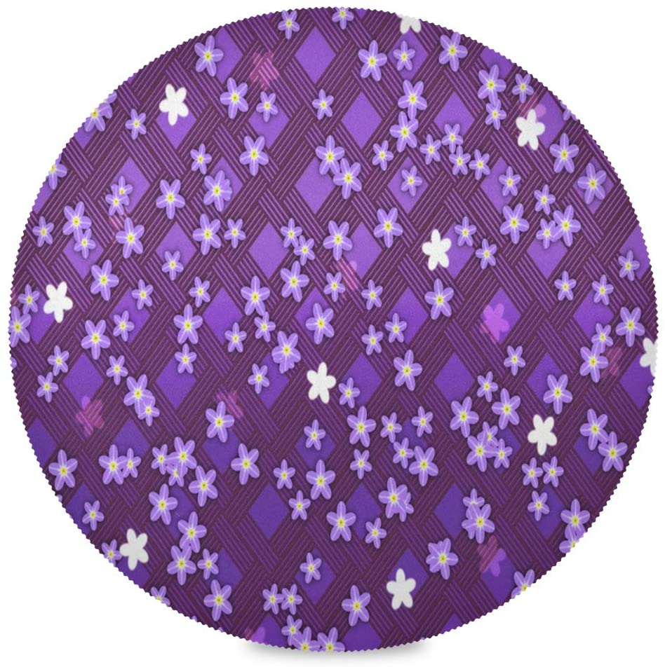 Nander Purple Flower Round Placemats Washable Plate Table Mats for Kitchen Dining Table Decoration Set of 4