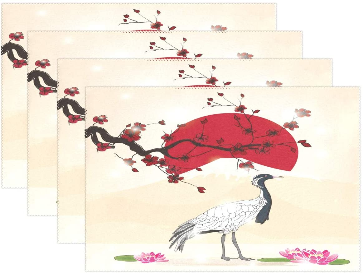 Yochoice ALAZA Stylish Japanese Crane and Sakura Placemat Plate Holder Set of 4, Polyester Table Place Mats Protector for Kitchen Dining Room 12