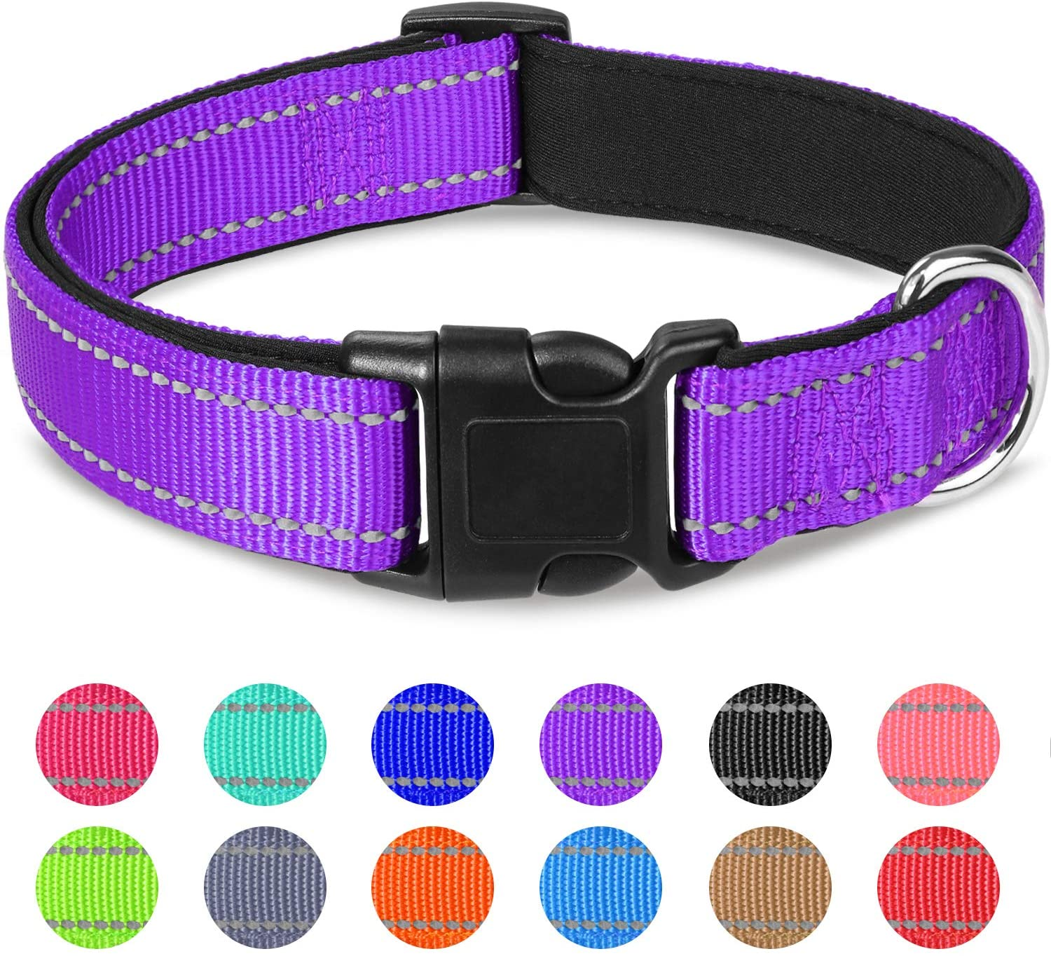 Joytale Reflective Dog Collar,12 Colors,Soft Neoprene Padded Breathable Nylon Pet Collar Adjustable for Small Medium Large Dogs,4 Sizes