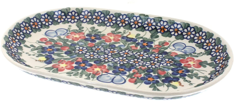 Polish Pottery Garden Butterfly Small Oval Platter
