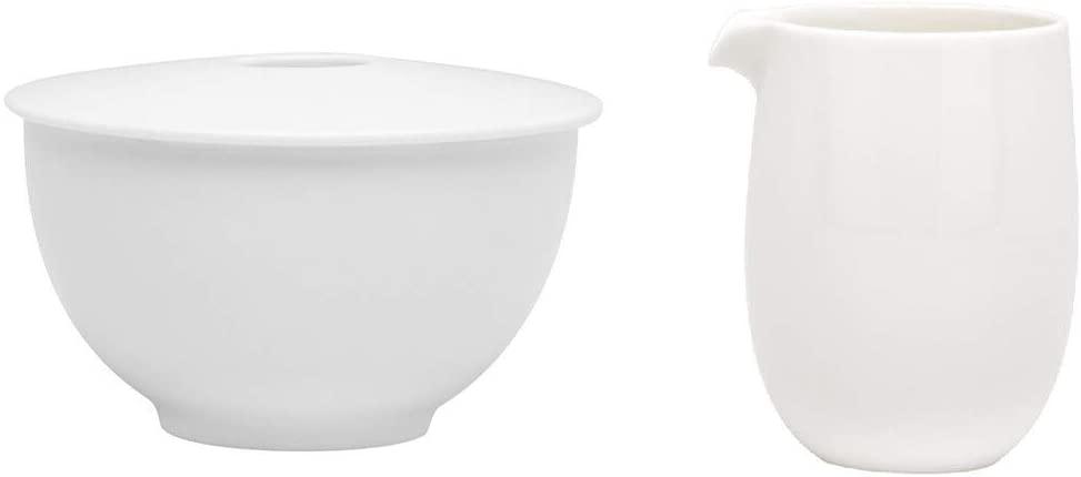Time White Sugar Bowl and Creamer Set Ivory Solid Casual Formal Porcelain 3 Piece Dishwasher Safe Microwave