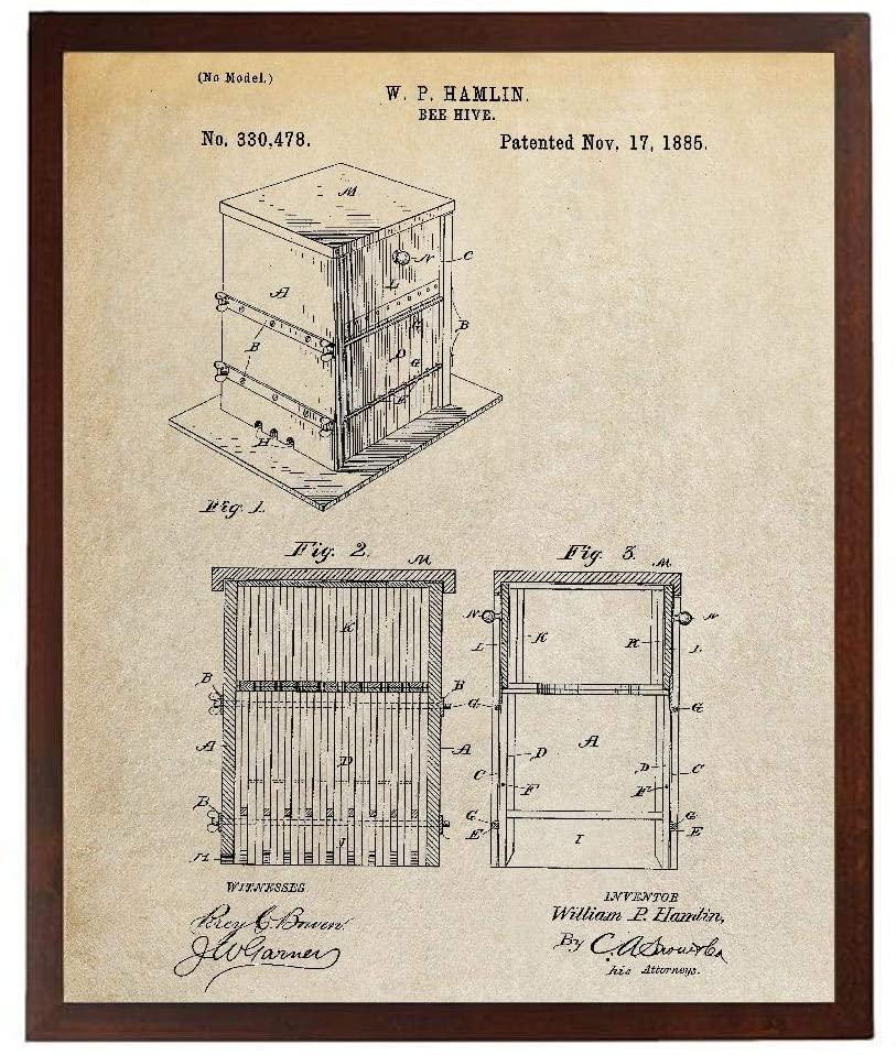 Turnip Designs Bee Hive Exterior Patent Poster Bee Keeper Honey Bee Honeycomb Organic Honey Farmhouse Vintage TDP251