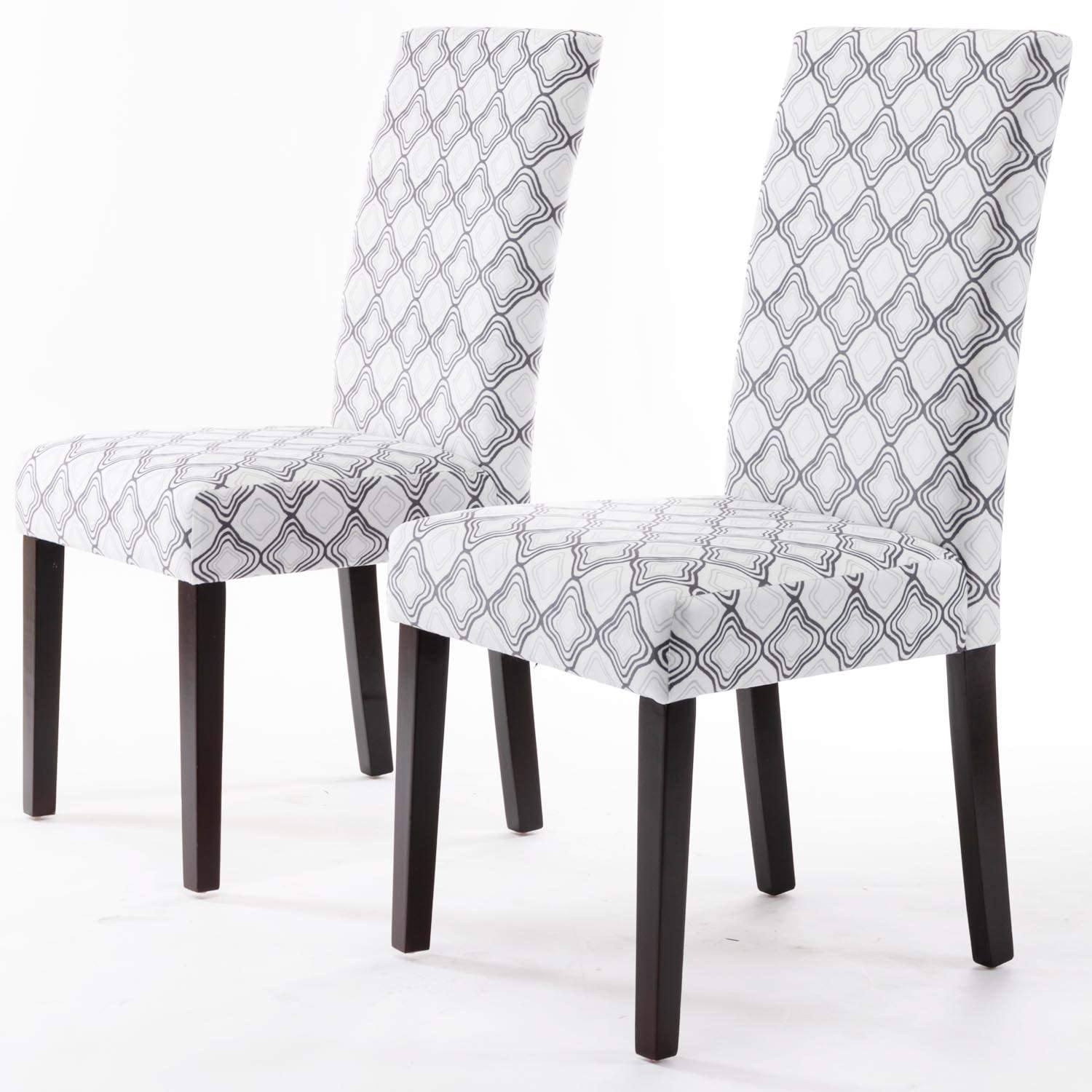 DininL Fur Dining Chair Kitchen Chairs Set of 2 Modern Dining Room Side Chairs Fabric Cushion Seat Back with Nailhead Trim (Geometry)