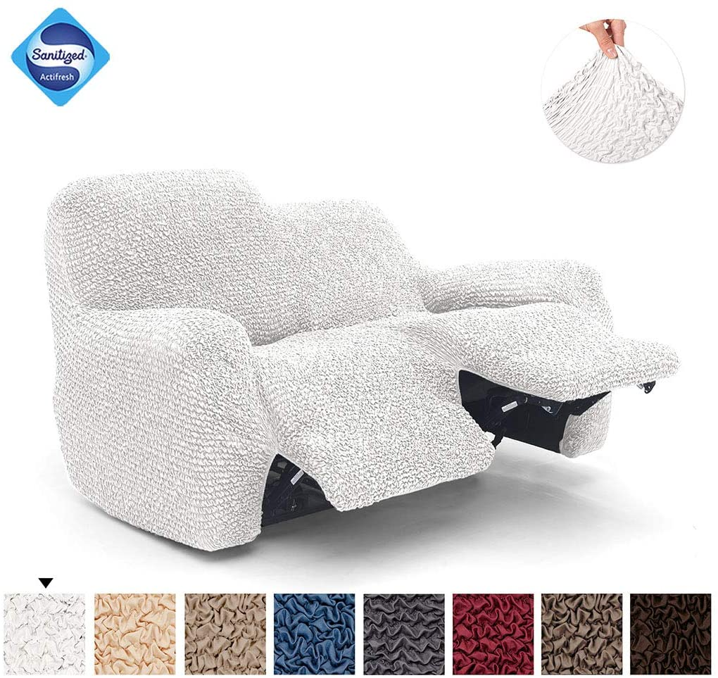 Recliner Loveseat Cover - Recliner Couch Cover - 2 Seater Recliner Slipcover - Soft Polyester Fabric Slipcover - 1-piece Form Fit Stretch Furniture Protector - Microfibra Collection - White