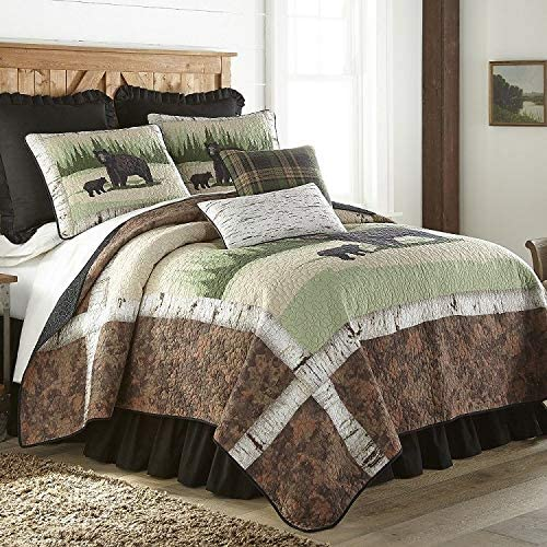 Donna Sharp Twin Quilt - Birch Bear Lodge Quilt with Bear and Forest Pattern - Machine Washable