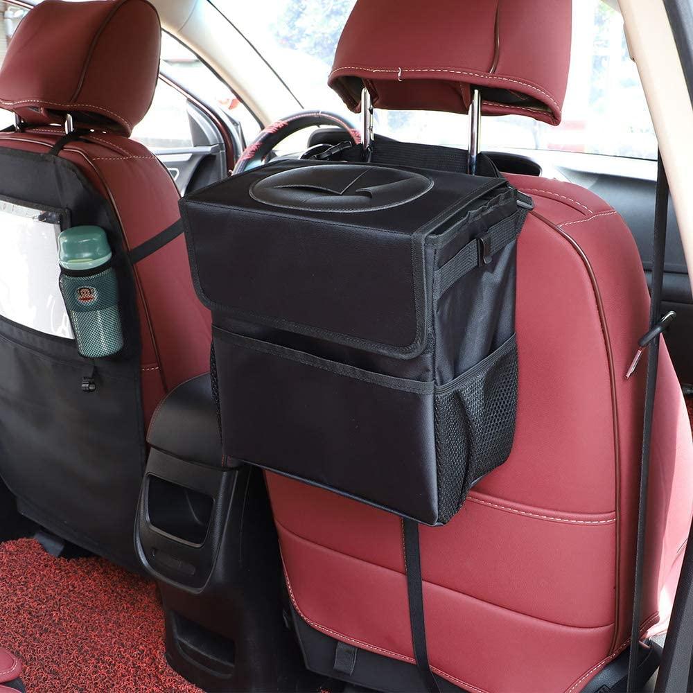 EROCK Large Foldable Car Trash Garbage Can Wastebasket Bag - 12L Large Capacity Car Multifuntional Trash Can Bin with Lid and Enough Storage Pockets Leak-Proof (Black)