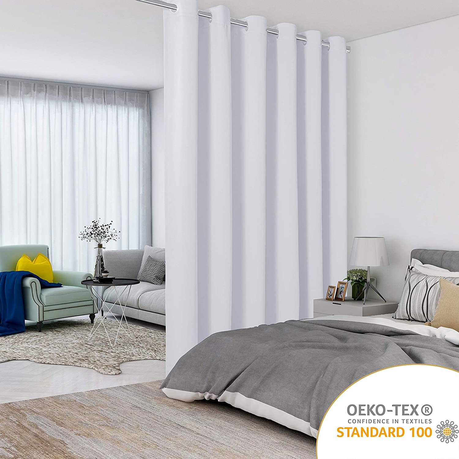 LORDTEX Greyish White Room Divider Curtains - Total Privacy Wall Room Divider Screens Sound Proof Wide Blackout Curtain for Living Room Bedroom Patio Sliding Door, 1 Panel, 15ft Wide x 8ft Tall